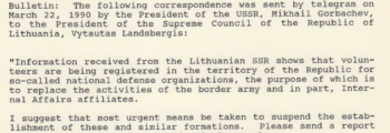 March 22, 1990: Gorbachev Threatens Lithuanians
