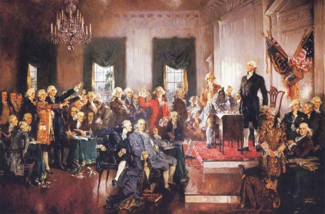 Painting of the 1787 American constitution convention and ratification of the American Constitution