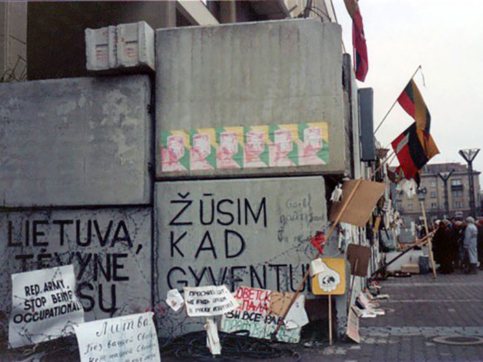Barricades in front of the Parliament building