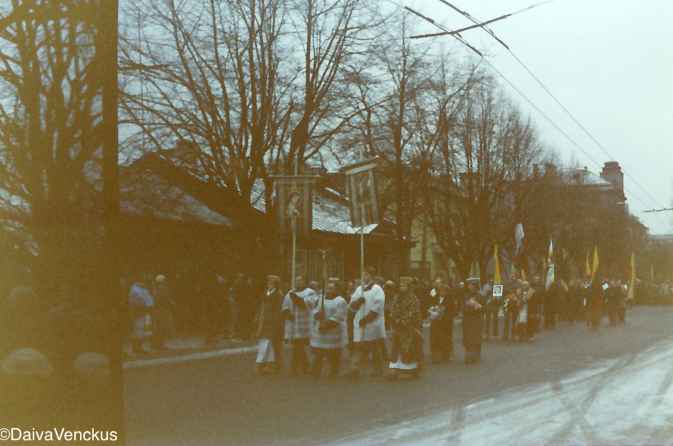 Funeral in Kaunas For a victim of the January 13, 1991 Soviet Attack at the TV Tower